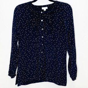 J.Jill Pintuck Black White Square Dot Tunic Blouse
